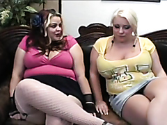 Fat chicks diking out on the sofa