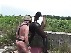Fart smelling old slave humiliated outdoors