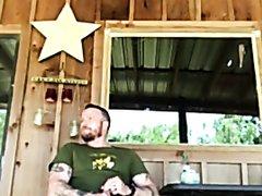 Cowboy masturbate on Porch