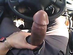 Car jerks-off no hands