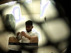 Cute young bearded guy on toilet SPY