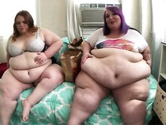 Two fat girls burping and eating for you