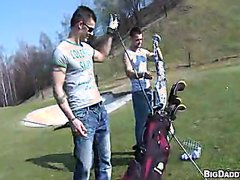 Outdoor jocks bareback on golf course
