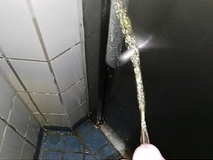 Spraying / pissing / marking public pissoir door handle