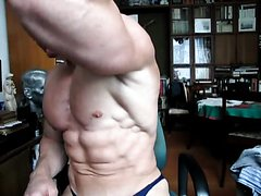 Bodybuilder chest worship