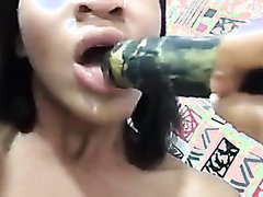 Dumb bitch shits on dildo