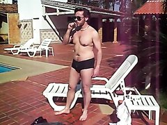Handsome cigar man strips by pool and pisses himself