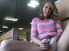 Pretty babe masturbating on an airport