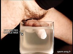 Cumshot into hot, melted wax