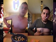 Smoking and stubbing out on tits