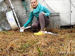 Blonde girl scat outdoor