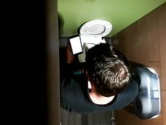 Fit young builder caught having a wank in toilet 2