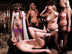 Femdom cult plays with their slave