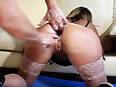 Mature woman gets her ass double fisted