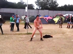 Naked guy having fun at the festival