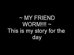 Nerdy guy eats a big worm