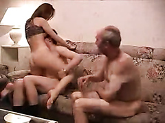 Cuckold mature guy watching his girl have fun