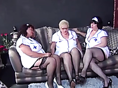 Mature nurses diking out together