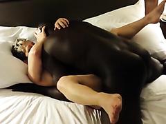 Black stud drills a mature white slut