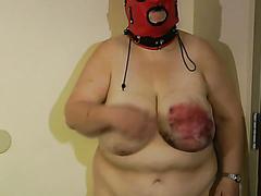 Masked BBW gets her tits destroyed