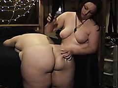 Kinky BDSM BBW lesbians play around
