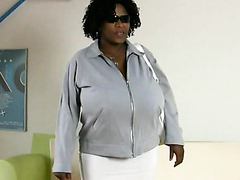 Ebony milf having fun with her massive tits