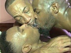 Kinky sweaty Black threesome: Part 2