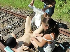 femdom girls shit in diaper & put on guy and kick and rub on train tracks