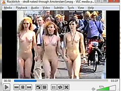 Rockbitch Band stroll naked through Amsterdam