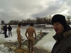 Guys naked in the cold lake...