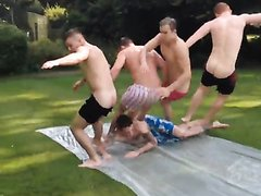 Friends play to human bowling