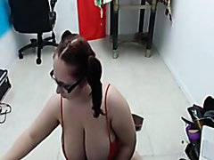 Horny busty BBW masturbating wildly