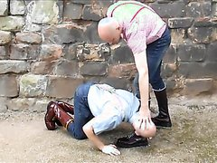 Slave  worshiping skinhead master's boots