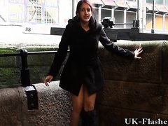 young british babe pees and flashes in public