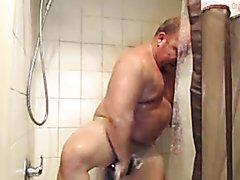 mature man in shower