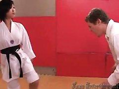 Karate Asian babe ballbusts white guy