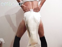 sissy baby in messy nappy under tights