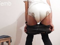 messy diaper under tight black jeans - and having some more fun