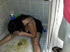 Drunk Girl Puking in Shower