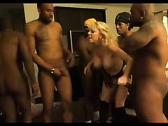 Busty blonde whore gangbanged by black guys