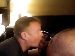 2 hunky guys service thick-dicked fat older guy