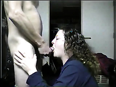 Curly mature sucks dick and gets a facial
