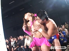 Japanese wrestlers in a team event