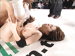 Japanese babes drilled in a ring