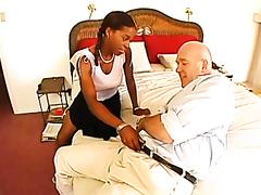 Sexy ebony slut fucks an old man