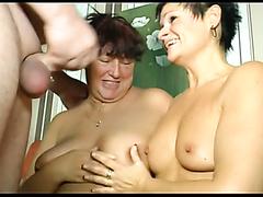 Old bald stud fucks two mature sluts