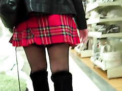 Spying on a short skirt with no underpants