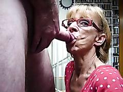 Granny sucks dick and gets a facial