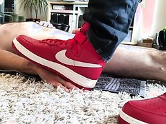 RED LEATHER AIR F0RCE ONE TRAINERS TRAMPLE HAND AND COCK