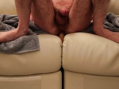 Cock getting hard while riding dildo